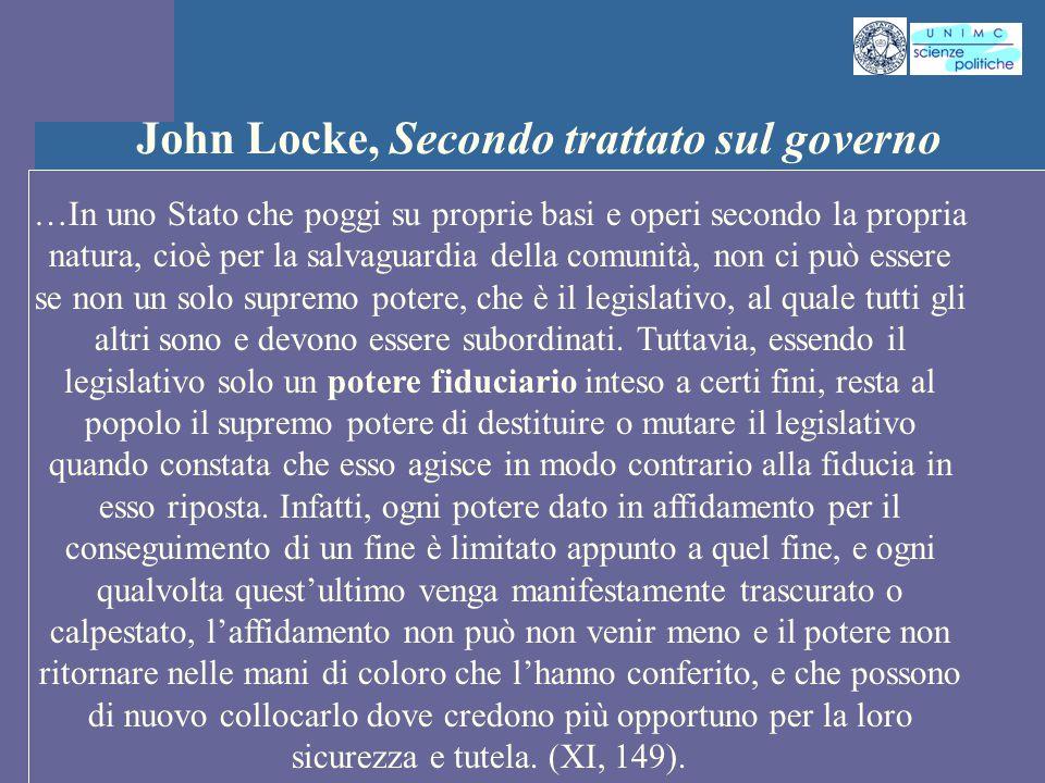 INTROD. ST. PENS. POL. Docente Prof. ssa Gregori INTROD. ST. PENS. POL. Docente Prof. ssa Gregori John Locke, Secondo trattato sul governo …In uno Sta