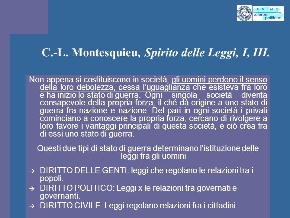 INTROD. ST. PENS. POL. Docente Prof. ssa Gregori INTROD. ST. PENS. POL. Docente Prof. ssa Gregori C.-L. Montesquieu, Spirito delle Leggi, I, III. Non