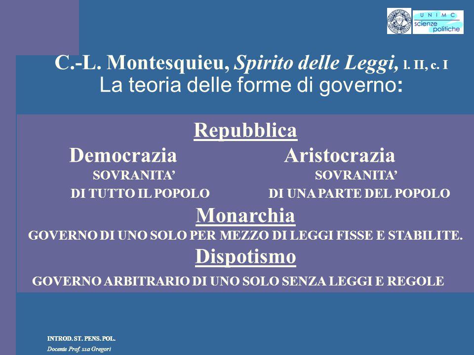 INTROD. ST. PENS. POL. Docente Prof. ssa Gregori INTROD. ST. PENS. POL. Docente Prof. ssa Gregori C.-L. Montesquieu, Spirito delle Leggi, l. II, c. I