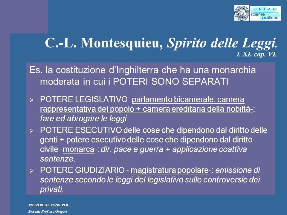 INTROD. ST. PENS. POL. Docente Prof. ssa Gregori INTROD. ST. PENS. POL. Docente Prof. ssa Gregori C.-L. Montesquieu, Spirito delle Leggi, l. XI, cap.