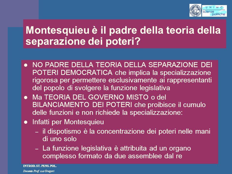 INTROD. ST. PENS. POL. Docente Prof. ssa Gregori INTROD. ST. PENS. POL. Docente Prof. ssa Gregori Montesquieu è il padre della teoria della separazion