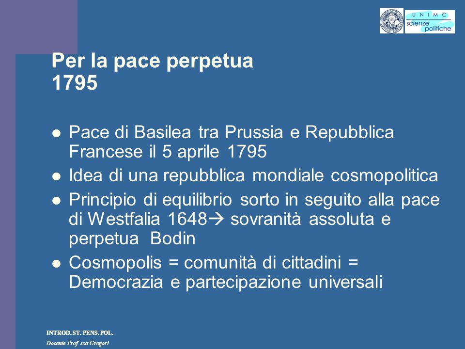INTROD. ST. PENS. POL. Docente Prof. ssa Gregori INTROD. ST. PENS. POL. Docente Prof. ssa Gregori Per la pace perpetua 1795 Pace di Basilea tra Prussi