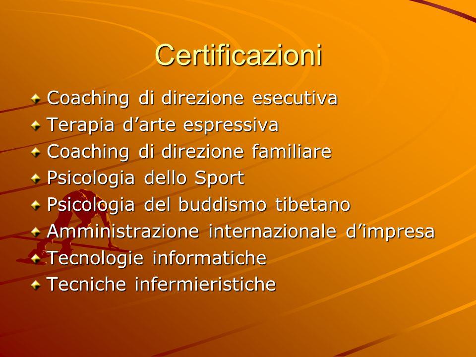 Certificazioni Coaching di direzione esecutiva Terapia d'arte espressiva Coaching di direzione familiare Psicologia dello Sport Psicologia del buddismo tibetano Amministrazione internazionale d'impresa Tecnologie informatiche Tecniche infermieristiche