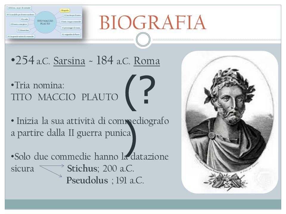 BIOGRAFIA 254 a.C. Sarsina - 184 a.C. Roma Tria nomina: TITO MACCIO PLAUTO Inizia la sua attività di commediografo a partire dalla II guerra punica So