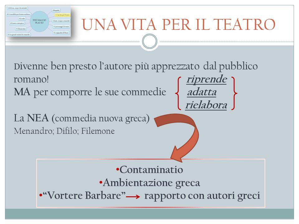 UNA VITA PER IL TEATRO D ivenne ben presto l'autore più apprezzato dal pubblico romano! riprende MA per comporre le sue commedie adatta rielabora La N