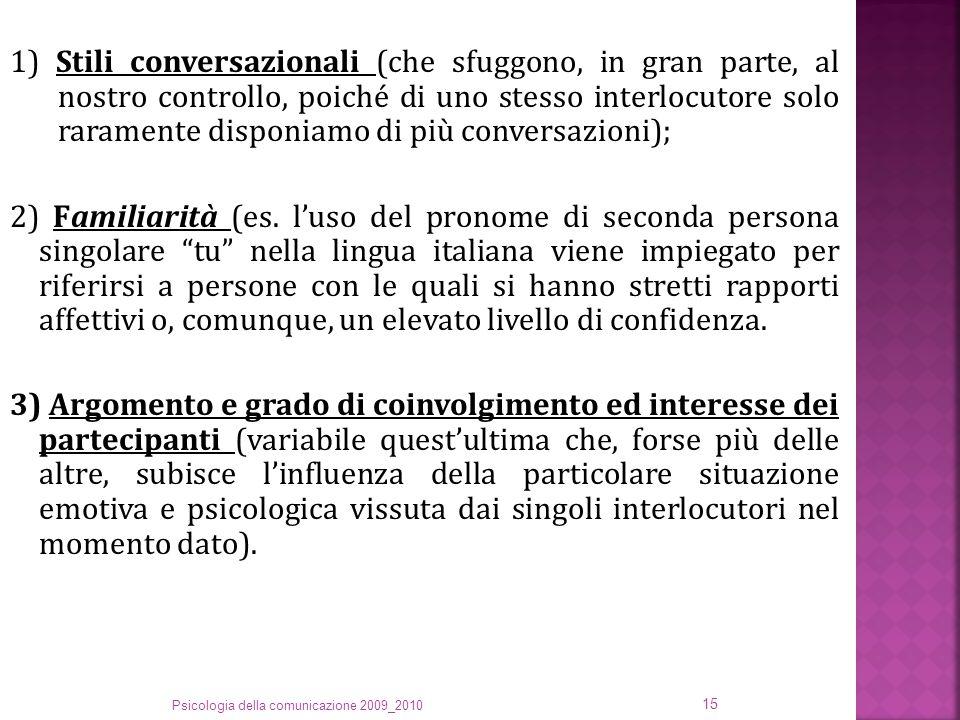 1) Stili conversazionali (che sfuggono, in gran parte, al nostro controllo, poiché di uno stesso interlocutore solo raramente disponiamo di più conversazioni); 2) Familiarità (es.