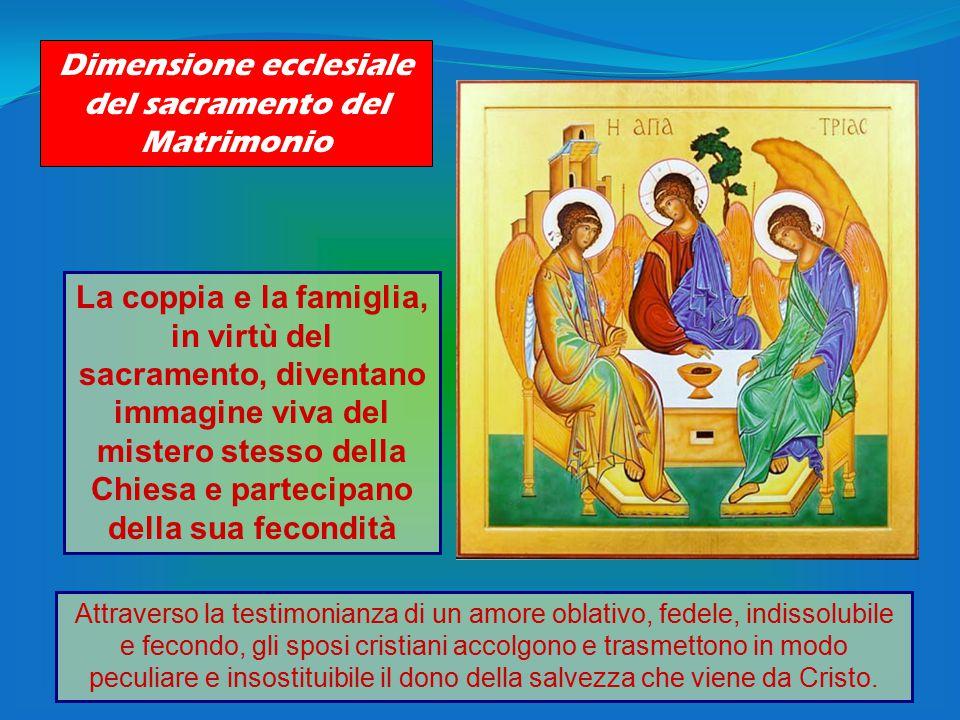 Dimensione ecclesiale del sacramento del Matrimonio La coppia e la famiglia, in virtù del sacramento, diventano immagine viva del mistero stesso della