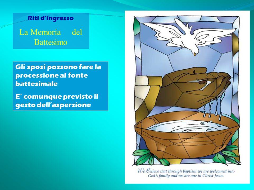 Riti d'ingresso La Memoria del Battesimo Gli sposi possono fare la processione al fonte battesimale E' comunque previsto il gesto dell'aspersione