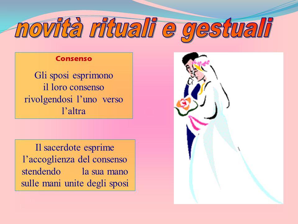 Consenso Gli sposi esprimono il loro consenso rivolgendosi l'uno verso l'altra Il sacerdote esprime l'accoglienza del consenso stendendo la sua mano s