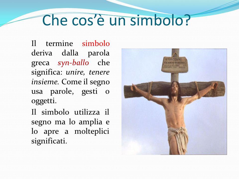 Che cos'è un simbolo? Il termine simbolo deriva dalla parola greca syn-ballo che significa: unire, tenere insieme. Come il segno usa parole, gesti o o