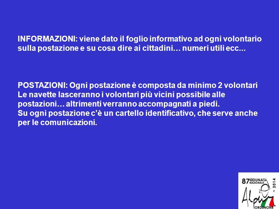 INFORMAZIONI: viene dato il foglio informativo ad ogni volontario sulla postazione e su cosa dire ai cittadini… numeri utili ecc...