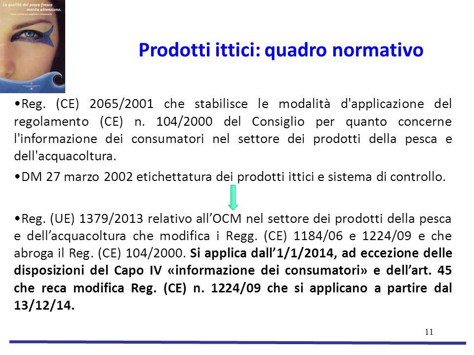 11 Prodotti ittici: quadro normativo Reg.