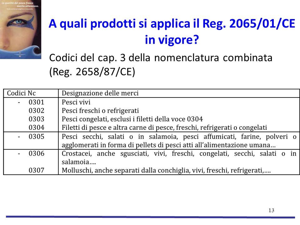 13 A quali prodotti si applica il Reg.2065/01/CE in vigore.