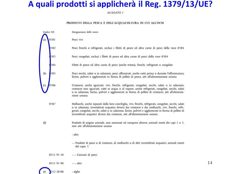 14 A quali prodotti si applicherà il Reg. 1379/13/UE?