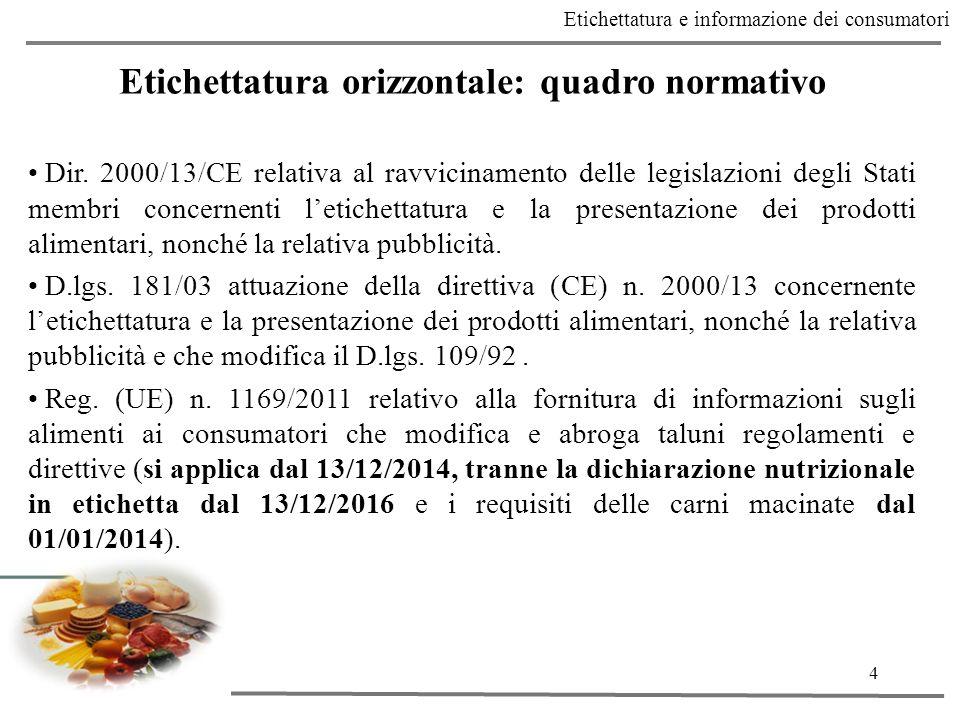 4 Etichettatura e informazione dei consumatori Etichettatura orizzontale: quadro normativo Dir.