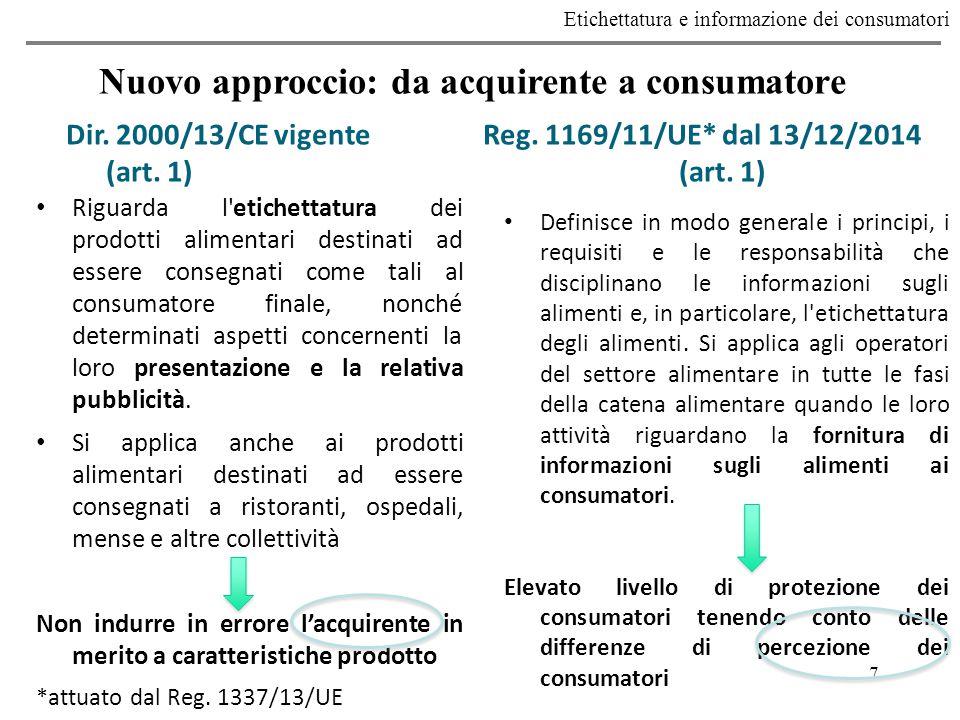 7 Etichettatura e informazione dei consumatori Nuovo approccio: da acquirente a consumatore Dir.