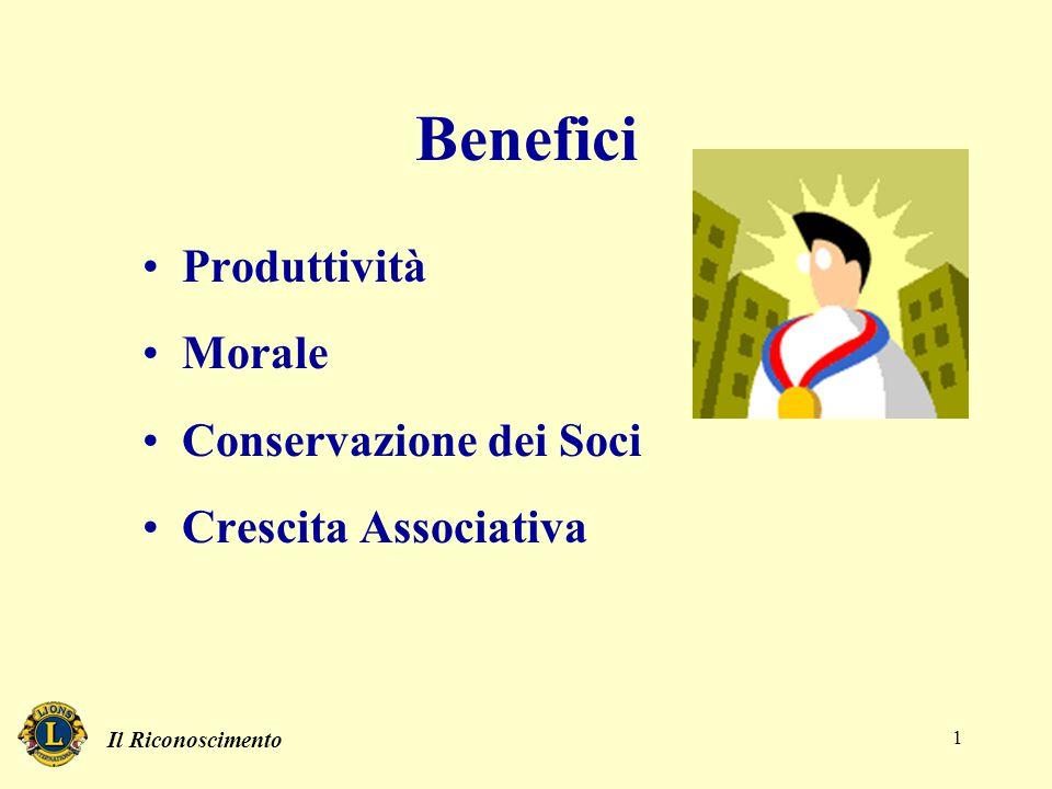 Il Riconoscimento 1 Benefici Produttività Morale Conservazione dei Soci Crescita Associativa