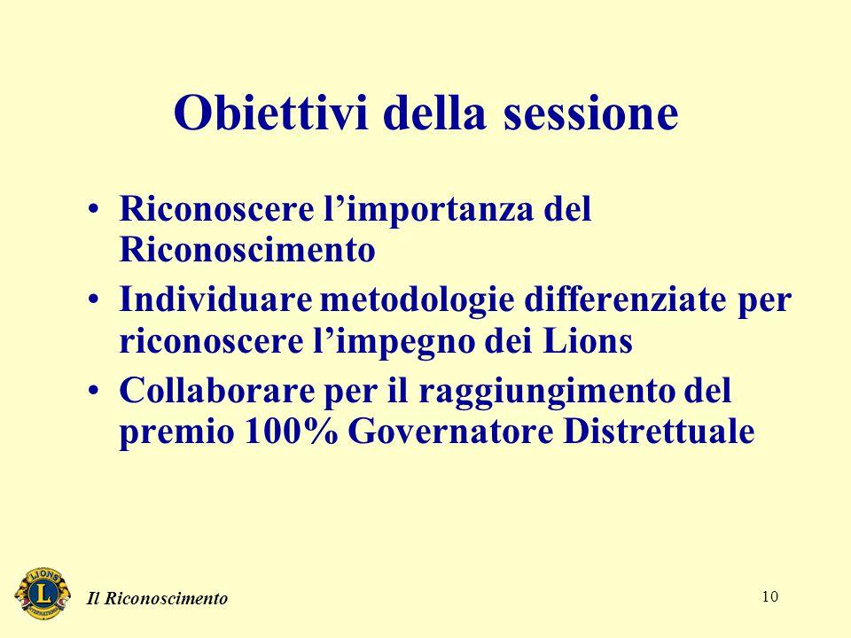 Il Riconoscimento 10 Obiettivi della sessione Riconoscere l'importanza del Riconoscimento Individuare metodologie differenziate per riconoscere l'impe