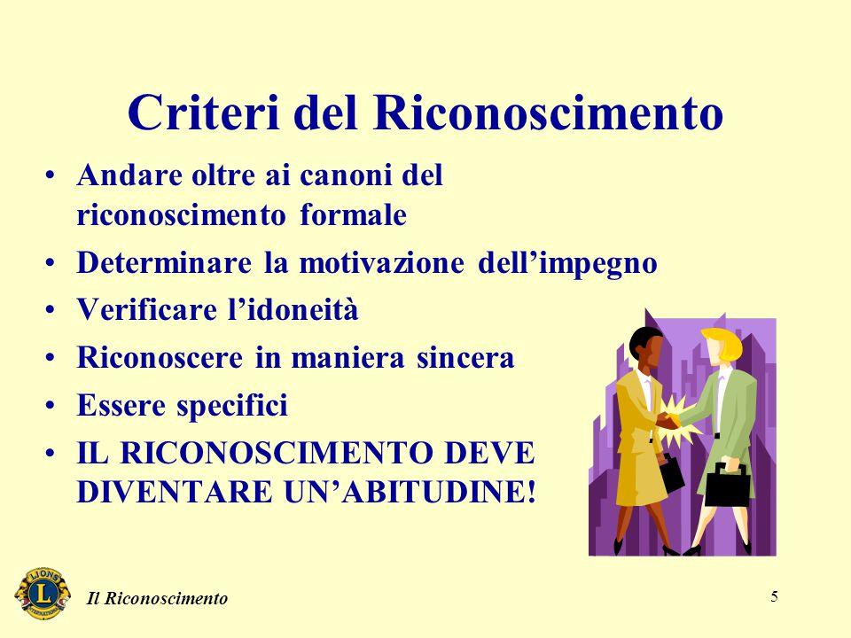 Il Riconoscimento 5 Criteri del Riconoscimento Andare oltre ai canoni del riconoscimento formale Determinare la motivazione dell'impegno Verificare l'