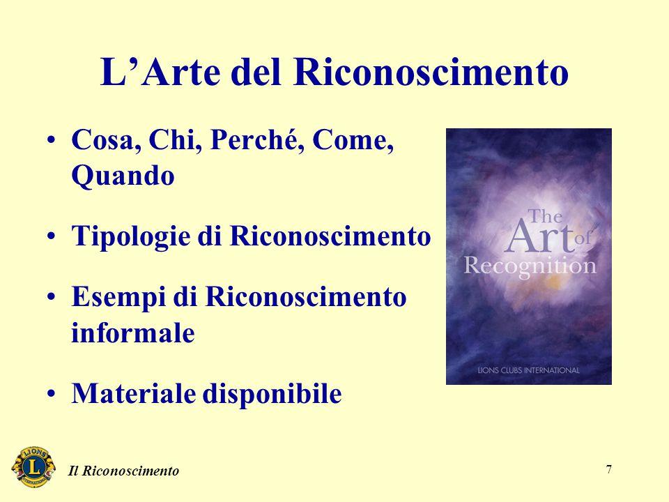 Il Riconoscimento 7 L'Arte del Riconoscimento Cosa, Chi, Perché, Come, Quando Tipologie di Riconoscimento Esempi di Riconoscimento informale Materiale