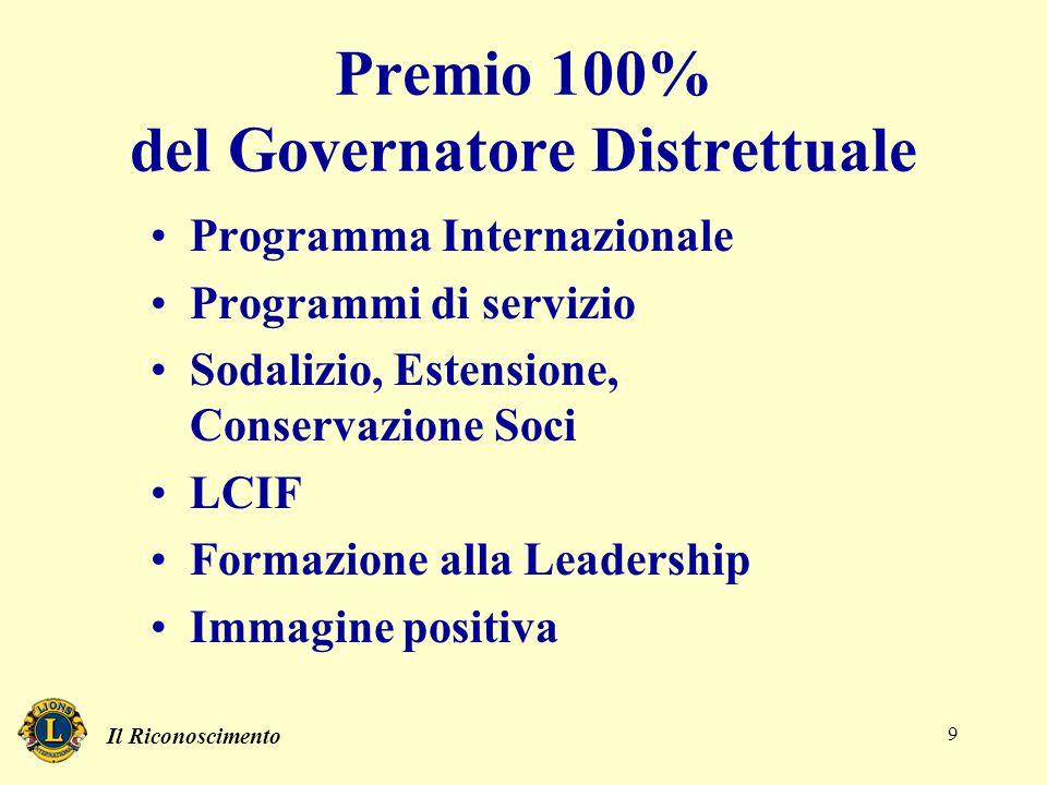 Il Riconoscimento 9 Premio 100% del Governatore Distrettuale Programma Internazionale Programmi di servizio Sodalizio, Estensione, Conservazione Soci