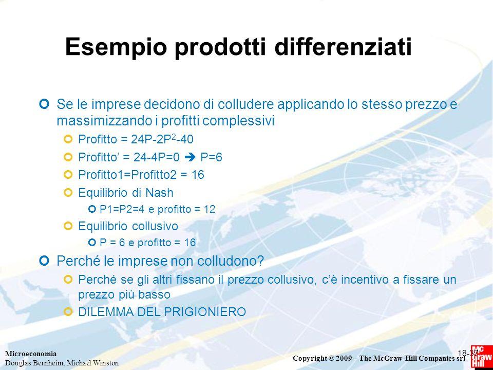 Microeconomia Douglas Bernheim, Michael Winston Copyright © 2009 – The McGraw-Hill Companies srl Esempio prodotti differenziati 18-37 Se le imprese decidono di colludere applicando lo stesso prezzo e massimizzando i profitti complessivi Profitto = 24P-2P 2 -40 Profitto' = 24-4P=0  P=6 Profitto1=Profitto2 = 16 Equilibrio di Nash P1=P2=4 e profitto = 12 Equilibrio collusivo P = 6 e profitto = 16 Perché le imprese non colludono.