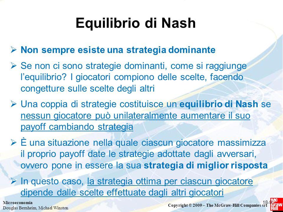 Microeconomia Douglas Bernheim, Michael Winston Copyright © 2009 – The McGraw-Hill Companies srl Equilibrio di Nash  Non sempre esiste una strategia dominante  Se non ci sono strategie dominanti, come si raggiunge l'equilibrio.
