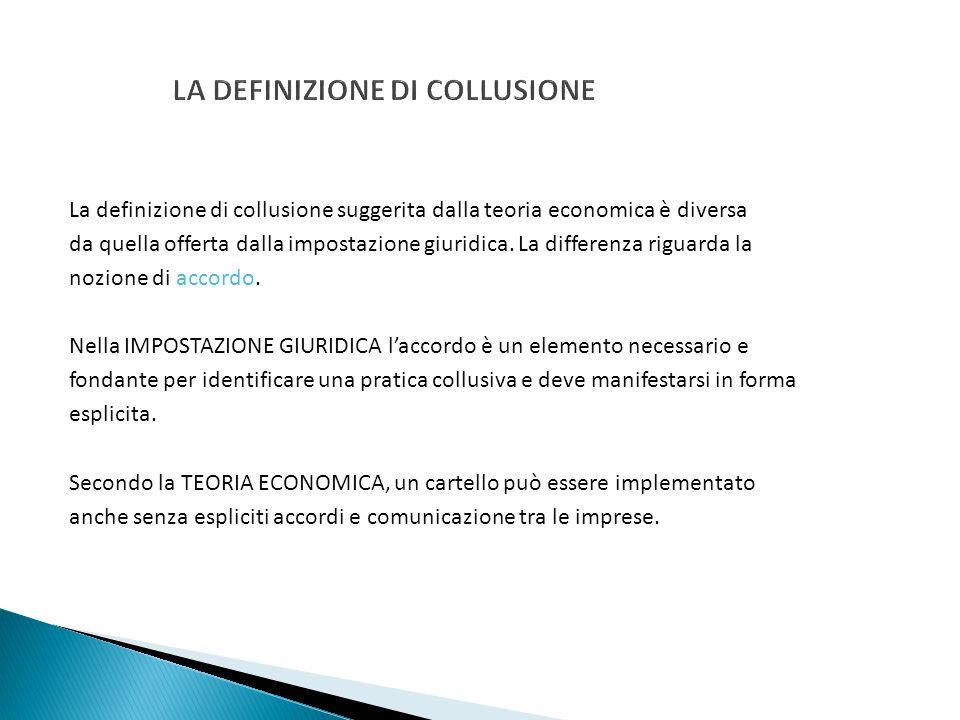 LA DEFINIZIONE DI COLLUSIONE La definizione di collusione suggerita dalla teoria economica è diversa da quella offerta dalla impostazione giuridica. L