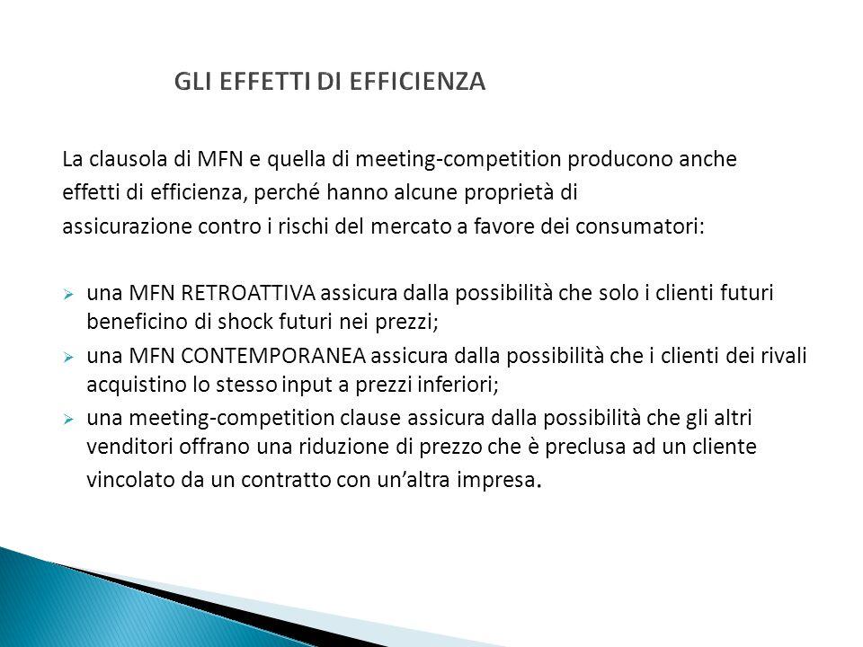 GLI EFFETTI DI EFFICIENZA La clausola di MFN e quella di meeting-competition producono anche effetti di efficienza, perché hanno alcune proprietà di a