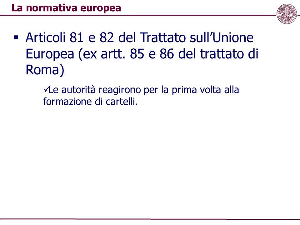 La normativa europea  Articoli 81 e 82 del Trattato sull'Unione Europea (ex artt. 85 e 86 del trattato di Roma) Le autorità reagirono per la prima vo