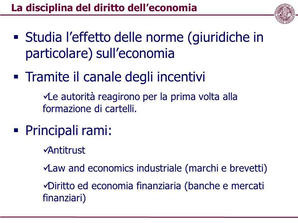 La disciplina del diritto dell'economia  Studia l'effetto delle norme (giuridiche in particolare) sull'economia  Tramite il canale degli incentivi L