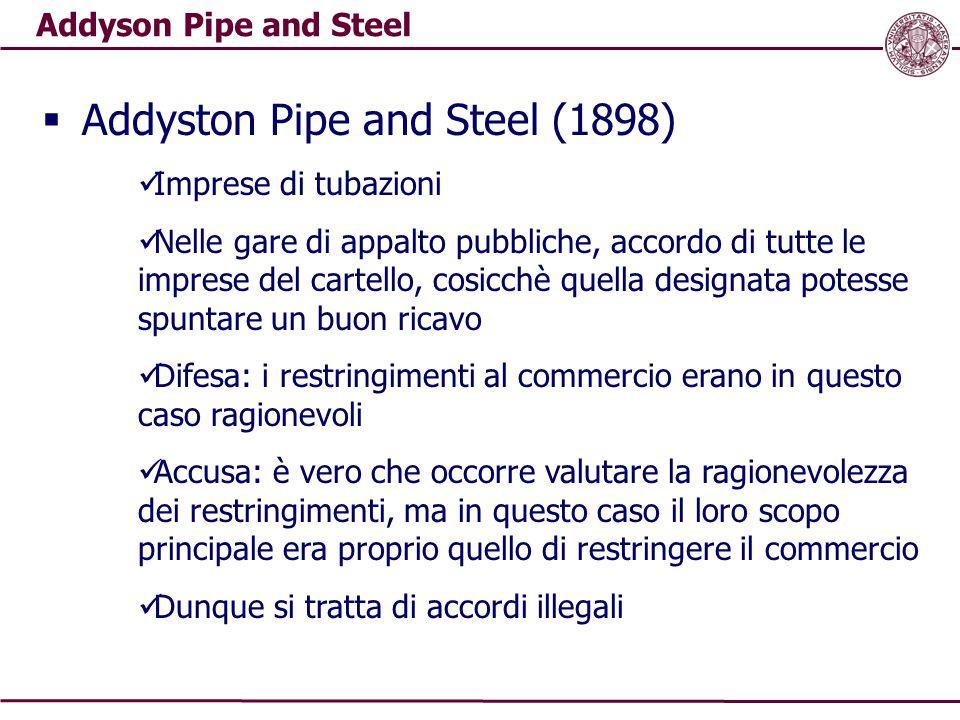 Addyson Pipe and Steel  Addyston Pipe and Steel (1898) Imprese di tubazioni Nelle gare di appalto pubbliche, accordo di tutte le imprese del cartello