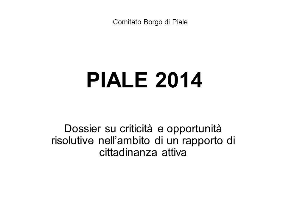 PIALE 2014 Dossier su criticità e opportunità risolutive nell'ambito di un rapporto di cittadinanza attiva Comitato Borgo di Piale