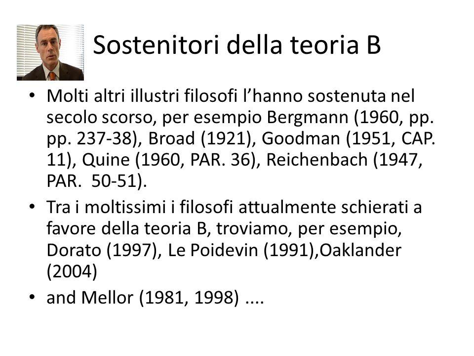 Sostenitori della teoria B Molti altri illustri filosofi l'hanno sostenuta nel secolo scorso, per esempio Bergmann (1960, pp. pp. 237-38), Broad (1921