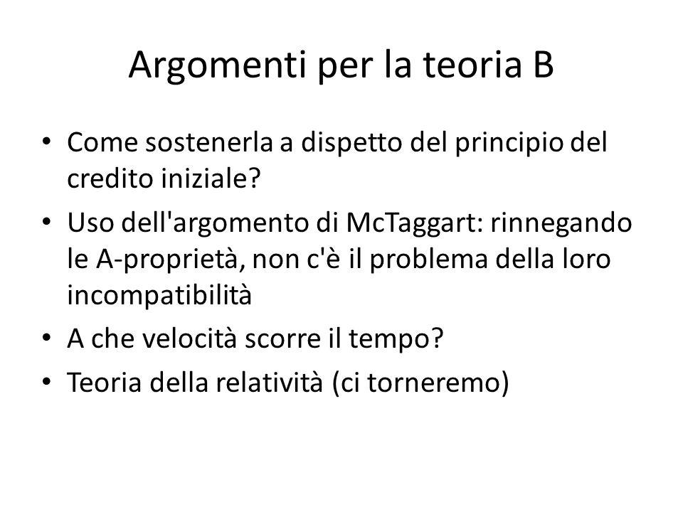 Argomenti per la teoria B Come sostenerla a dispetto del principio del credito iniziale? Uso dell'argomento di McTaggart: rinnegando le A-proprietà, n