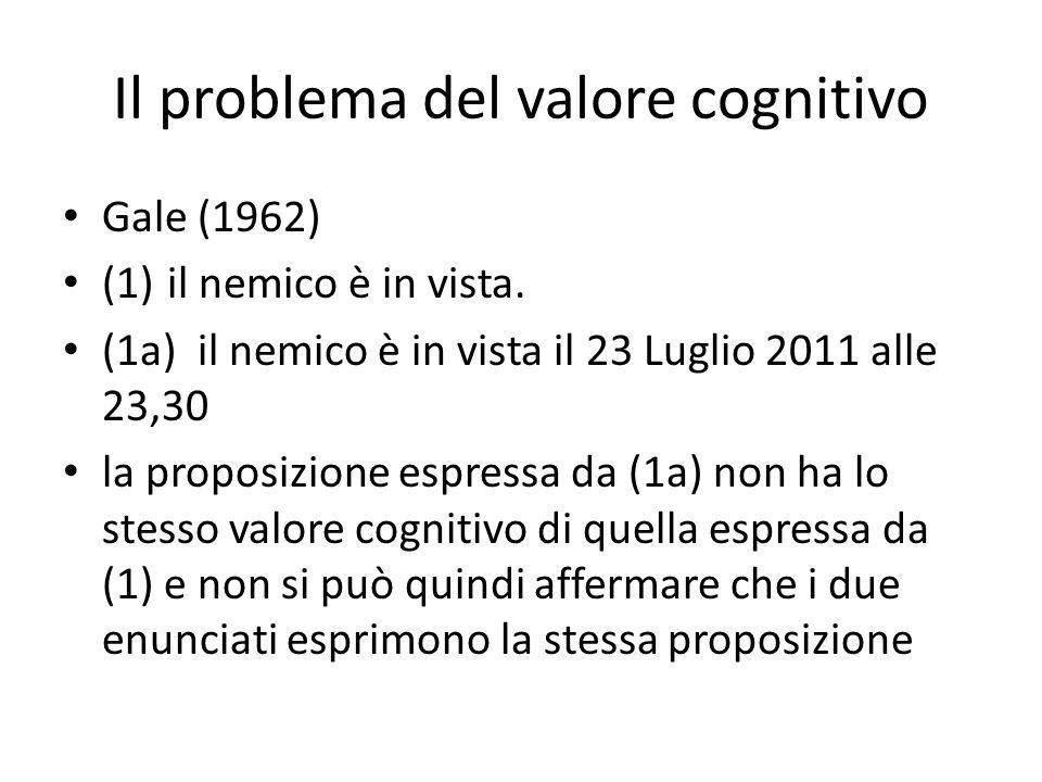 Il problema del valore cognitivo Gale (1962) (1)il nemico è in vista. (1a) il nemico è in vista il 23 Luglio 2011 alle 23,30 la proposizione espressa