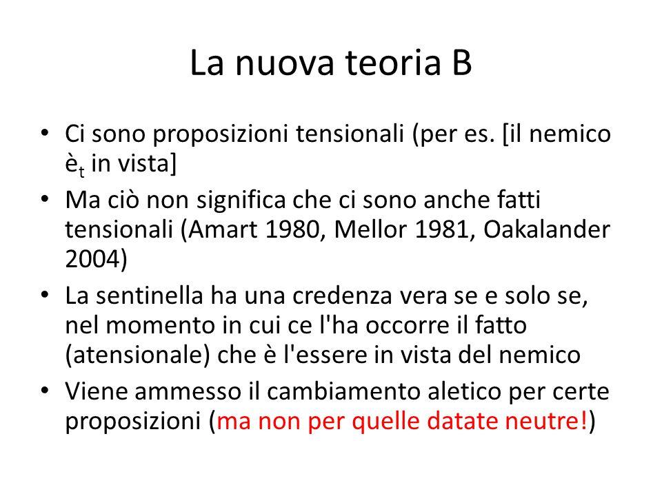 La nuova teoria B Ci sono proposizioni tensionali (per es. [il nemico è t in vista] Ma ciò non significa che ci sono anche fatti tensionali (Amart 198