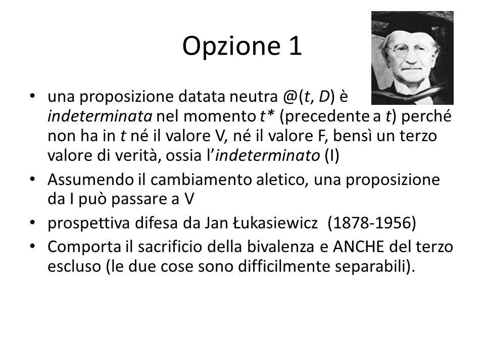 Opzione 1 una proposizione datata neutra @(t, D) è indeterminata nel momento t* (precedente a t) perché non ha in t né il valore V, né il valore F, be
