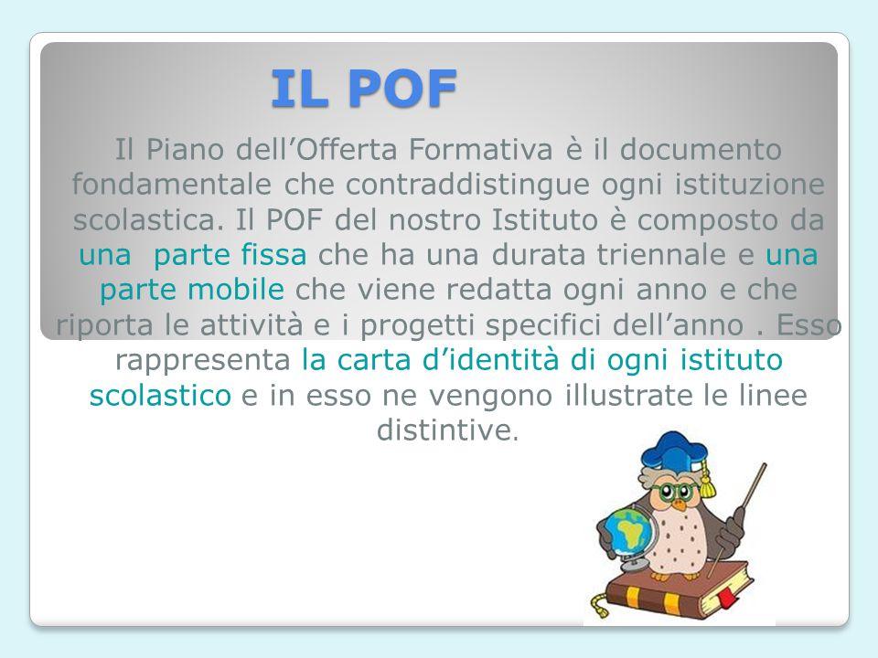 IL POF Il Piano dell'Offerta Formativa è il documento fondamentale che contraddistingue ogni istituzione scolastica.