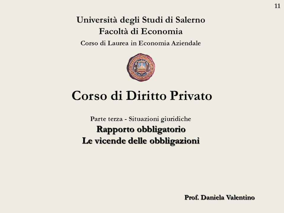 11 Università degli Studi di Salerno Facoltà di Economia Corso di Laurea in Economia Aziendale Prof. Daniela Valentino Corso di Diritto Privato Parte