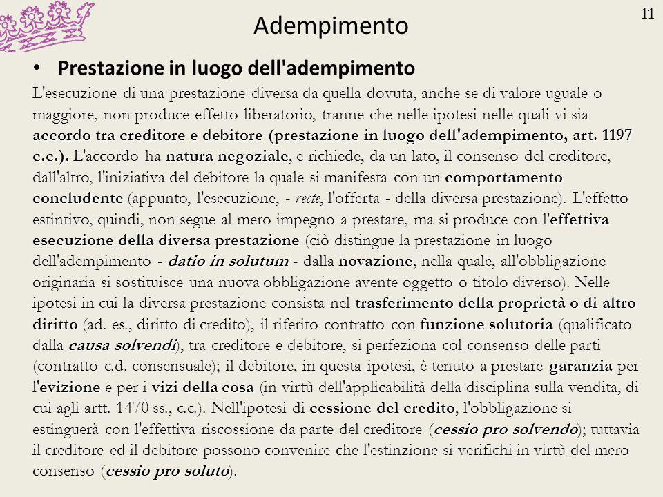 11 Adempimento Prestazione in luogo dell'adempimento accordo tra creditore e debitore (prestazione in luogo dell'adempimento, art. 1197 c.c.).natura n