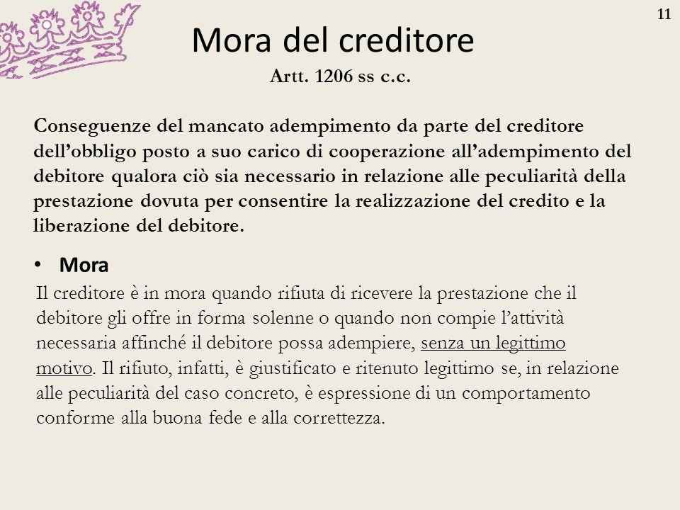 11 Mora del creditore Mora Artt. 1206 ss c.c. Conseguenze del mancato adempimento da parte del creditore dell'obbligo posto a suo carico di cooperazio