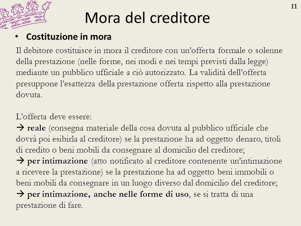 11 Mora del creditore Costituzione in mora Il debitore costituisce in mora il creditore con un'offerta formale o solenne della prestazione (nelle form