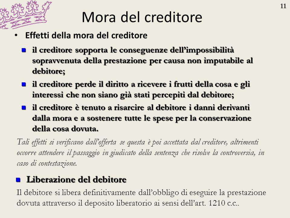 11 Mora del creditore Effetti della mora del creditore il creditore sopporta le conseguenze dell'impossibilità sopravvenuta della prestazione per caus