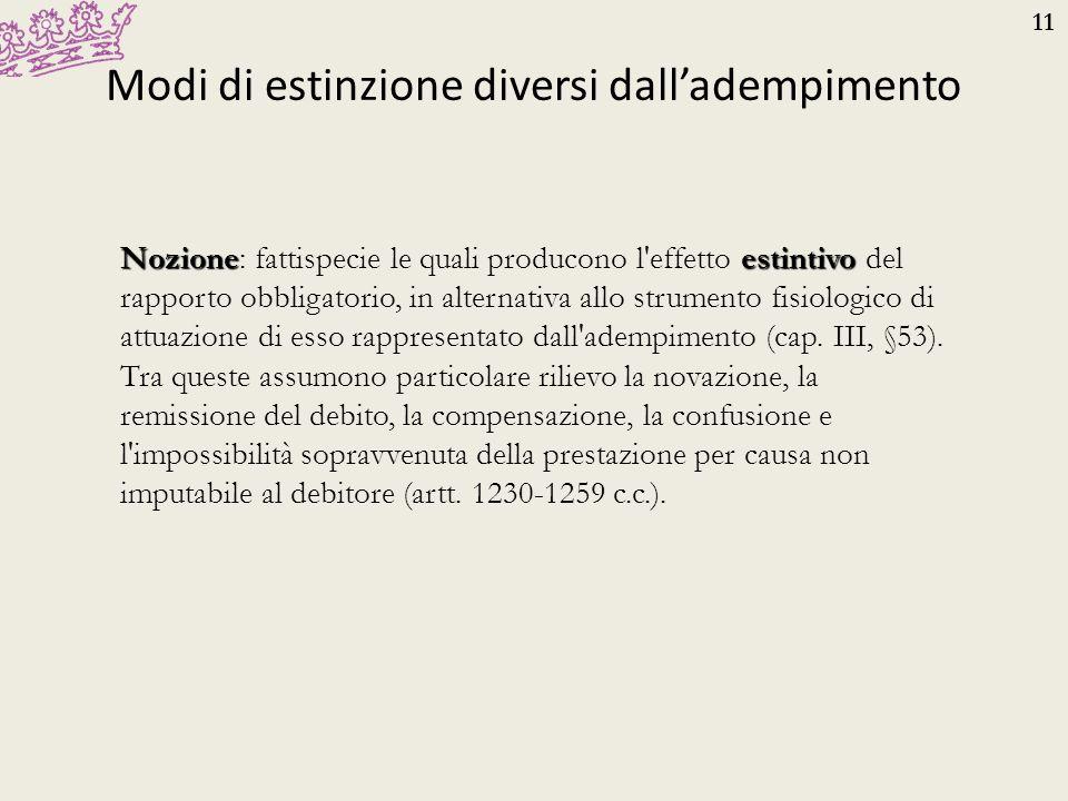 11 Modi di estinzione diversi dall'adempimento Nozioneestintivo Nozione: fattispecie le quali producono l'effetto estintivo del rapporto obbligatorio,
