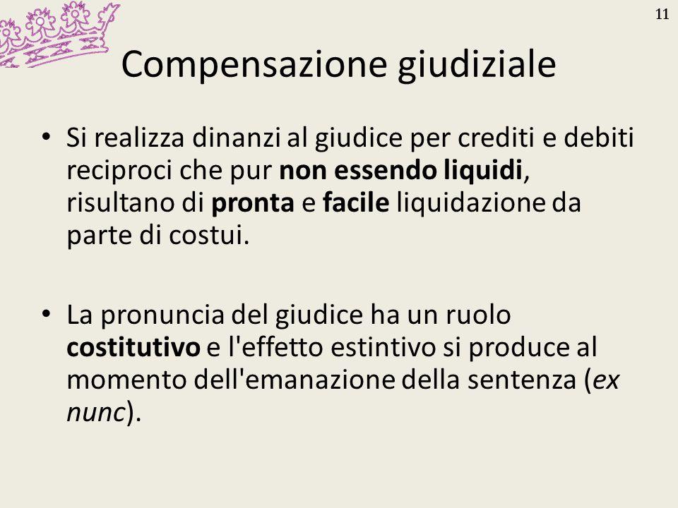 11 Compensazione giudiziale Si realizza dinanzi al giudice per crediti e debiti reciproci che pur non essendo liquidi, risultano di pronta e facile li