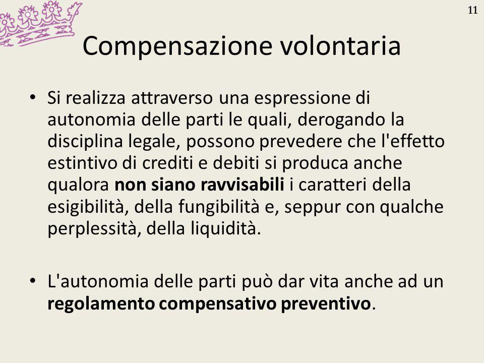 11 Compensazione volontaria Si realizza attraverso una espressione di autonomia delle parti le quali, derogando la disciplina legale, possono preveder