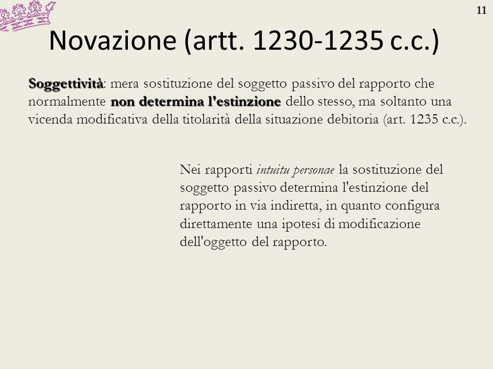 11 Novazione (artt. 1230-1235 c.c.) Soggettività non determina l'estinzione Soggettività: mera sostituzione del soggetto passivo del rapporto che norm
