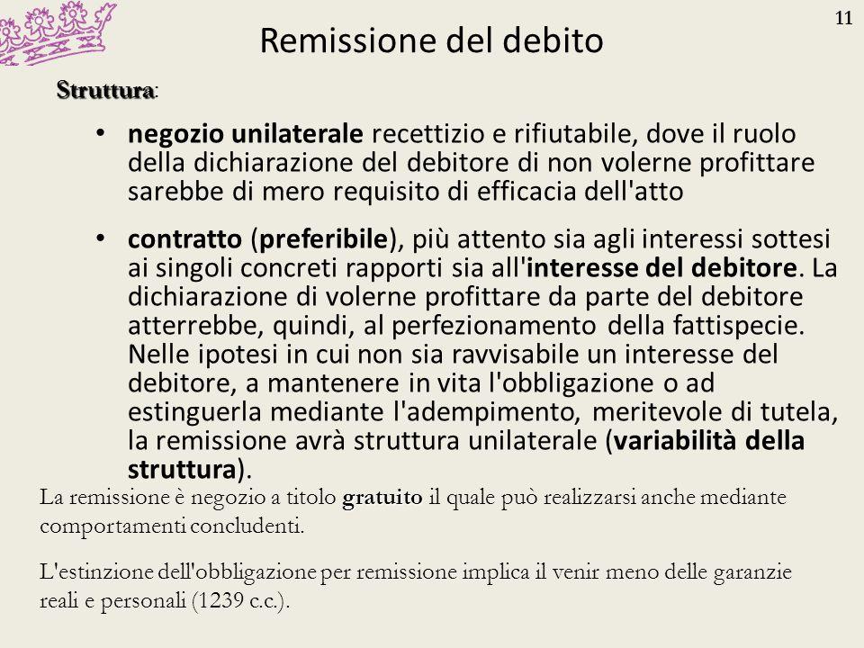 11 Remissione del debito negozio unilaterale recettizio e rifiutabile, dove il ruolo della dichiarazione del debitore di non volerne profittare sarebb