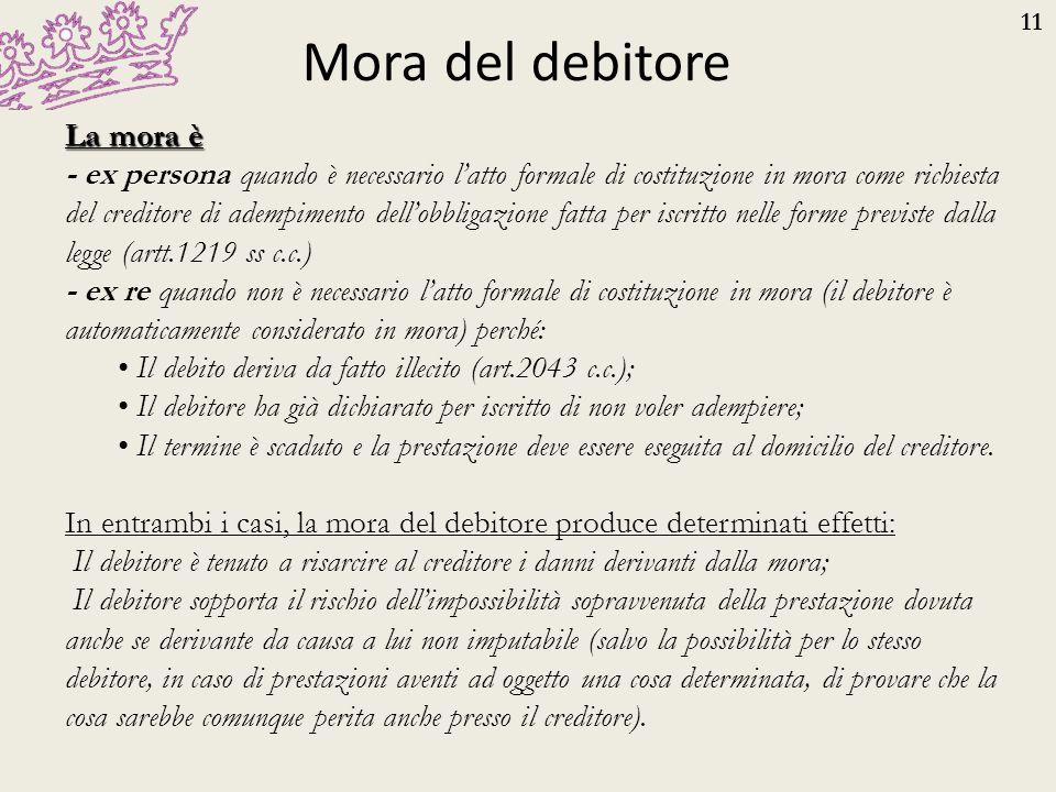 11 Mora del debitore La mora è - ex persona quando è necessario l'atto formale di costituzione in mora come richiesta del creditore di adempimento del